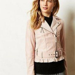 Anthropologie blush pink leather moto jacket S